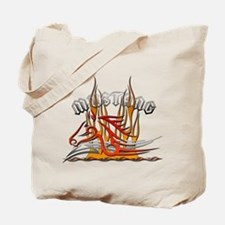 Mustang Tribal with Flames Tote Bag