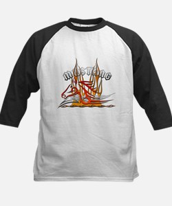 Mustang Tribal with Flames Kids Baseball Jersey