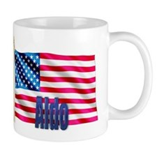 Aldo Personalized USA Flag Coffee Mug