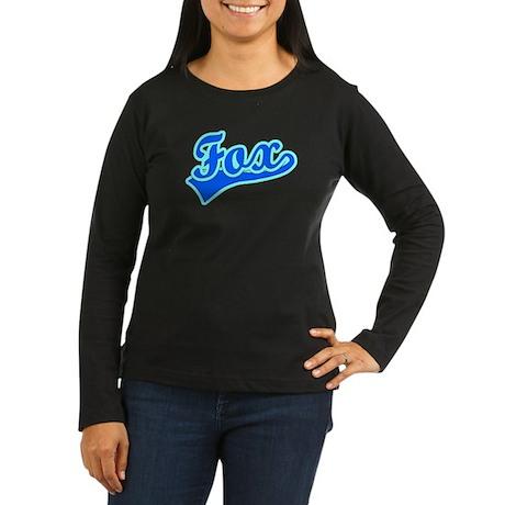 Retro Fox (Blue) Women's Long Sleeve Dark T-Shirt