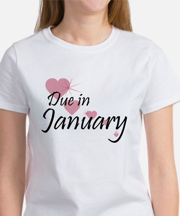 Due January Cascading Hearts Women's T-Shirt