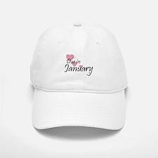 Due January Cascading Hearts Baseball Baseball Cap