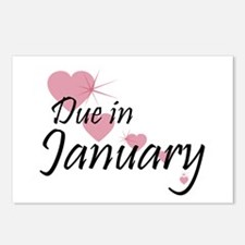 Due January Cascading Hearts Postcards (Package of