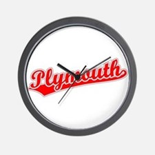 Retro Plymouth (Red) Wall Clock
