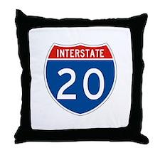 Interstate 20, USA Throw Pillow
