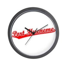 Retro Port Hueneme (Red) Wall Clock