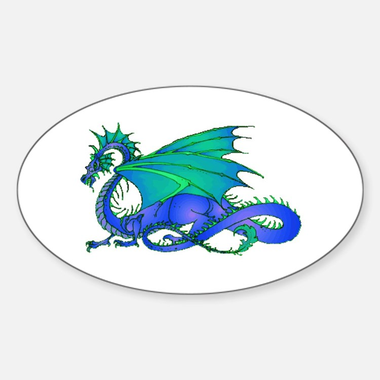 Bummed and Blue Dragon Oval Decal