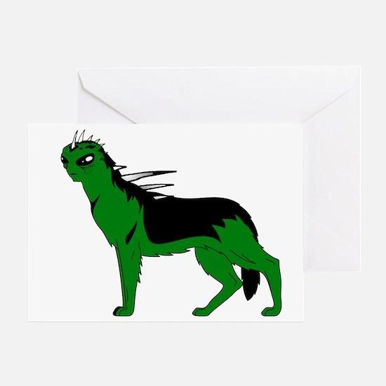 Green Dog-like Chupacabra Greeting Card