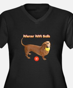 Wiener with Balls Women's Plus Size V-Neck Dark T-