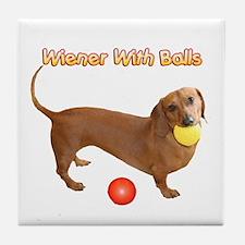 Wiener with Balls Tile Coaster