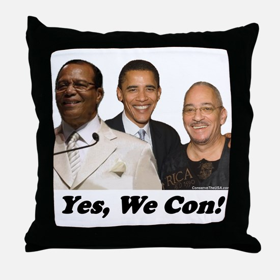 """Yes, We Con"" Throw Pillow"