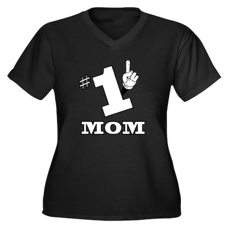 #1 - MOM Women's Plus Size V-Neck Dark T-Shirt