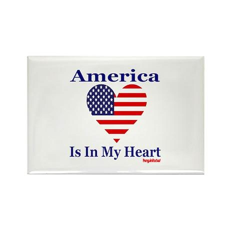 America - Heart Rectangle Magnet