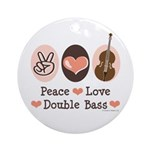 Peace Love Double Bass Ornament (Round)