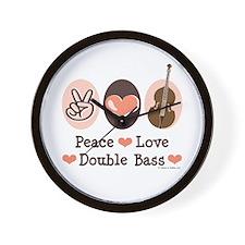 Peace Love Double Bass Wall Clock