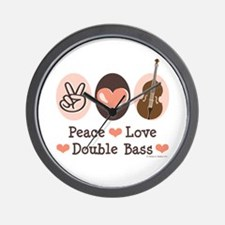 Peace Love Double Bass Wall Clock