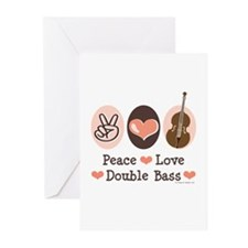 Peace Love Double Bass Greeting Cards (Pk of 20)