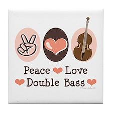 Peace Love Double Bass Tile Coaster
