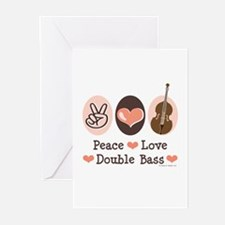 Peace Love Double Bass Greeting Cards (Pk of 10)