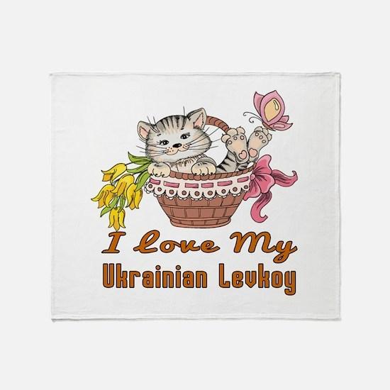 I Love My Ukrainian Levkoy Designs Throw Blanket