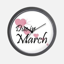 Due In March Cascading Hearts Wall Clock