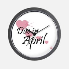 Due April Cascading Hearts Wall Clock