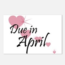 Due April Cascading Hearts Postcards (Package of 8