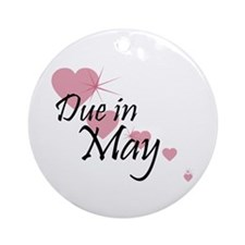 Due In May Cascading Hearts Ornament (Round)