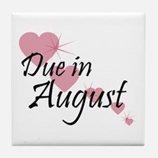 Due In August Cascading Hearts Tile Coaster