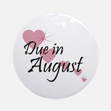 Due In August Cascading Hearts Ornament (Round)