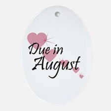 Due In August Cascading Hearts Oval Ornament