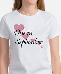Due In September Cascading Hearts Women's T-Shirt