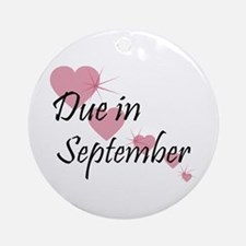 Due In September Cascading Hearts Ornament (Round)