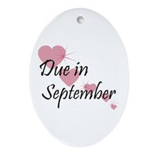 Due In September Cascading Hearts Oval Ornament