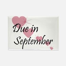 Due In September Cascading Hearts Rectangle Magnet