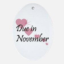 Due In November Cascading Hearts Oval Ornament