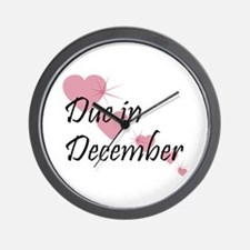 Due In December Cascading Hearts Wall Clock