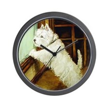 Waiting Westie Wall Clock