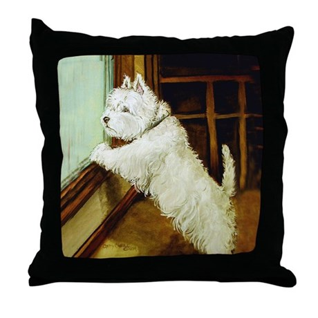 Waiting Westie Throw Pillow