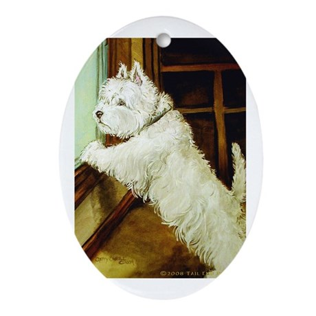 Waiting Westie Oval Ornament