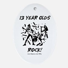 13 Year Olds Rock Oval Ornament