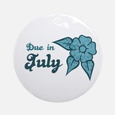 Due In July Blue Blossom Ornament (Round)