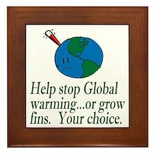 Stop Global Warming Framed Tile
