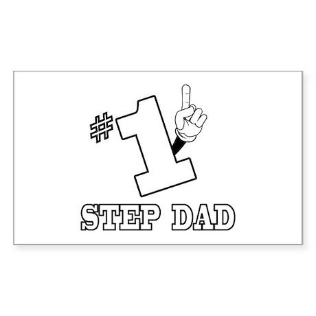 #1 - STEP DAD Rectangle Sticker