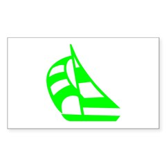 Green Sailboat Rectangle Sticker 10 pk)