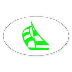 Green Sailboat Oval Sticker (10 pk)