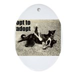 Opt To Adopt Cat Oval Ornament