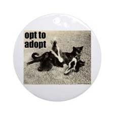 Opt To Adopt Cat Ornament (Round)