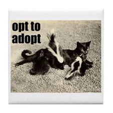 Opt To Adopt Cat Tile Coaster