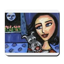 Schnauzer blue eyed lady play Mousepad